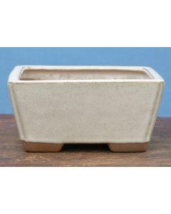 "Cream Glazed Deep Square Bonsai Pot - 7"""