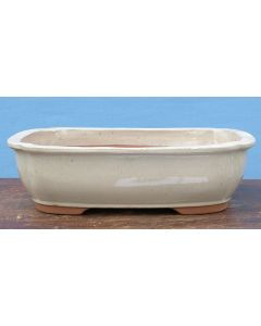 "Cream Glazed Oval Bonsai Pot - 15"""