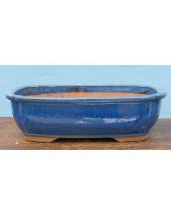 """Blue Glazed Oval Bonsai Pot - 15"""""""
