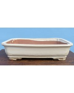 "Cream Glazed Deep Rectangle Bonsai Pot 17"""