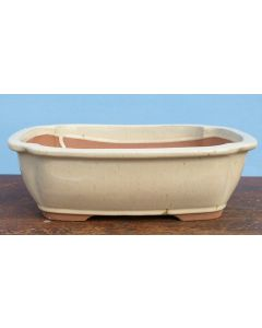 "Cream Glazed Rectangular Bonsai Pot - 13"""