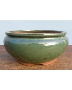 "Green Glazed Round Bonsai Pot - 9"""