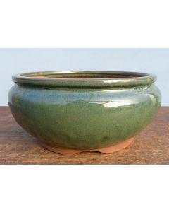 "Green Glazed Round Bonsai Pot 12"""