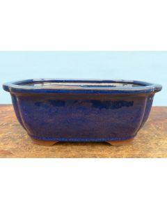 "Deep Glazed Oval Bonsai Pot - Blue - 10"""