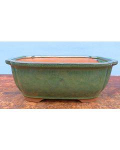 "Deep Glazed Oval Bonsai Pot - Green - 8"""