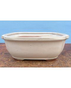 "Deep Glazed Oval Bonsai Pot - Cream - 10"""