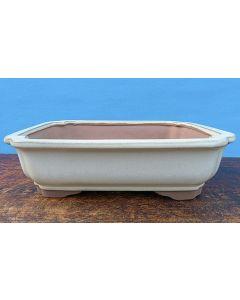 "Cream Glazed Rectangular Bonsai Pot - 12"""