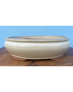 Cream Glazed Oval Bonsai Pot