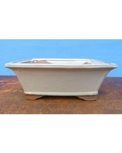 "Rectangular Cream Glazed Bonsai Pot - 8"""