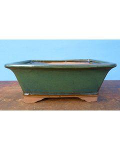 "Rectangular Green Glazed Bonsai Pot - 8"""