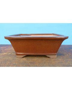 "Rectangular Copper Brown Glazed Bonsai Pot - 10"""