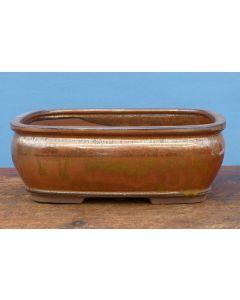 "Copper Glazed Rectangular Bonsai Pot - 10"""