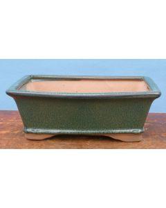 "Olive Green Glazed Rectangular Bonsai Pot - 10"""