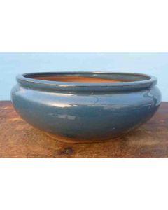 "Blue Glazed Round Bonsai Pot 12"""