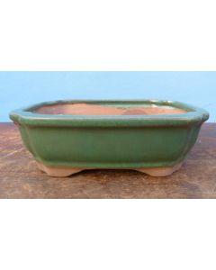 "Green Glazed Rectangle Bonsai Pot - 7"""