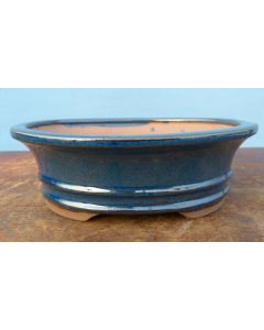 """Blue Glazed Oval Bonsai Pot - 7"""""""