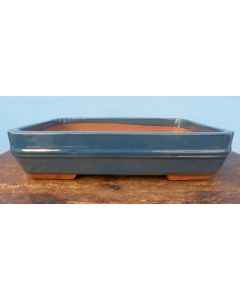 "Blue/Grey Glazed Rectangle Bonsai Pot - 15"""