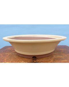 """Cream Glazed Round Bonsai Pot - 12"""""""