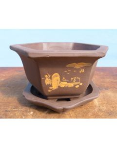 Decorated Hexagonal Unglazed Bonsai Pot & Under Tray 6""