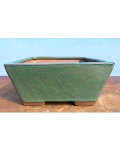 "Green Glazed Deep Square Bonsai Pot - 7"""