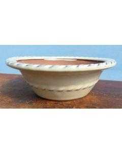 """Cream Glazed Round Bonsai Pot 8"""" 200mm"""