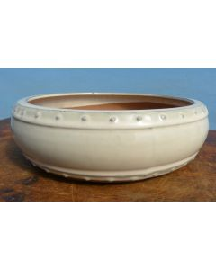 "Cream Glazed Round Drum Style Bonsai Pot - 10"""
