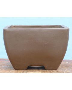 "Square Semi-Cascade Style Unglazed Bonsai Basics Pot - 10"""
