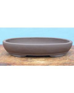 "Bonsai Basics - Heavy Shallow Oval Unglazed Bonsai Pot - 12"""
