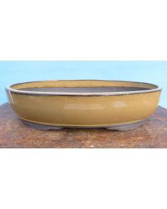 """Glazed Oval Bonsai Pot - 12"""""""