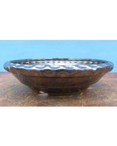 "Blue Glazed Round Bonsai Pot - 9"""