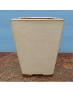 "Cream Glazed Cascade Style Bonsai Pot - 7"""