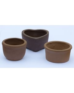 Small Unglazed Bonsai / Accent Plant Pots - 3 Pack