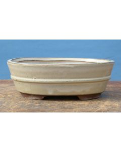 """Cream Glazed Oval Bonsai Pot - 8"""" - Colour and pattern of glaze can vary to some degree from that shown."""