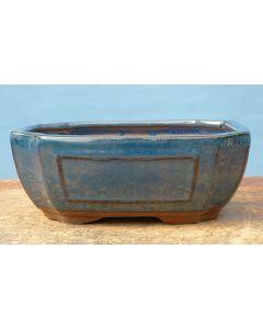 "Blue Glazed Rectangular Bonsai Pot - 7"""