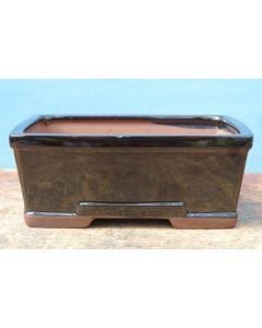 "Black Glazed Deep Rectangular Bonsai Pot - 7"""