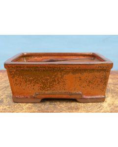 """Copper Glazed Deep Rectangular Bonsai Pot - 7"""""""