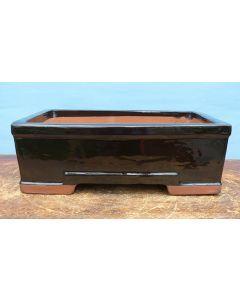 "Black Glazed Deep Rectangular Bonsai Pot - 12"""