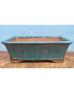 "Mid-Blue Glazed Deep Rectangular Bonsai Pot - 12"""