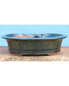 """Green Glazed Oval Bonsai Pot - 12"""" - Colour may vary to some degree from that shown."""