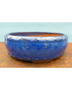 "Blue Glazed Round Bonsai Pot - 8"""