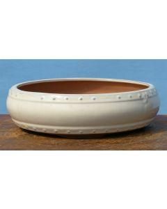 "Cream Glazed Round Drum Style Bonsai Pot - 12"""