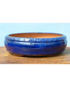 "Blue Glazed Round Drum Style Bonsai Pot - 10"""