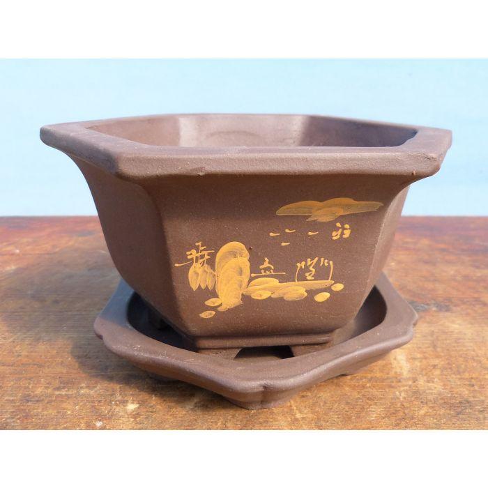 Decorated Hexagonal Unglazed Bonsai Pot Under Tray 6