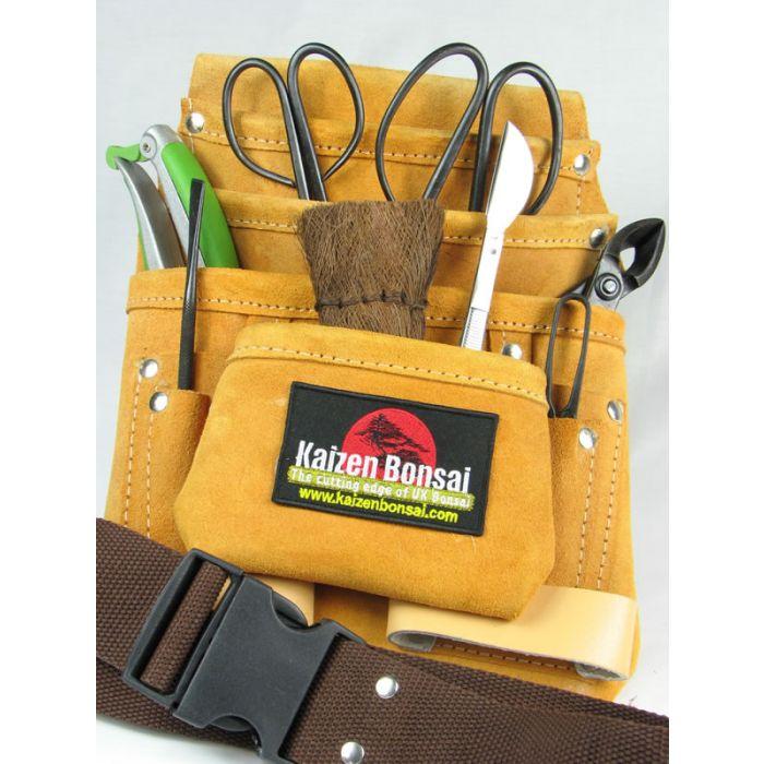 10 Piece Bonsai Tool Kit Suede Leather Tool Belt