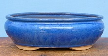 Blue Glazed Oval Bonsai Pot - 12 inch