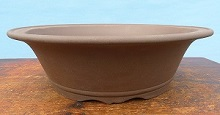 Unglazed deep round bonsai pot