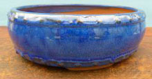 Blue Glazed Round Bonsai Pot - 8""